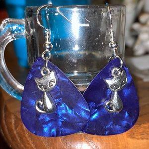 New Dangle pierced CAT earrings w blue accent